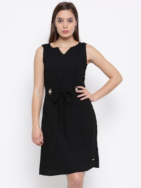 Park Avenue Women Black Solid A-Line Dress