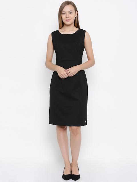 Park Avenue Woman Black Solid Sheath Dress