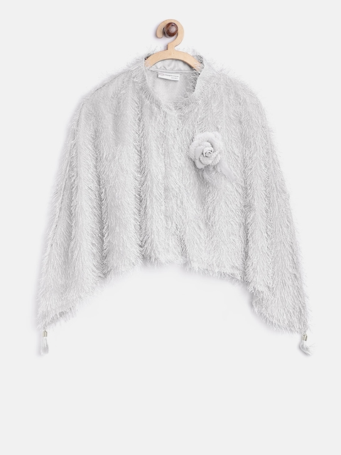 Peppermint Girls Grey Fringed Poncho Shrug
