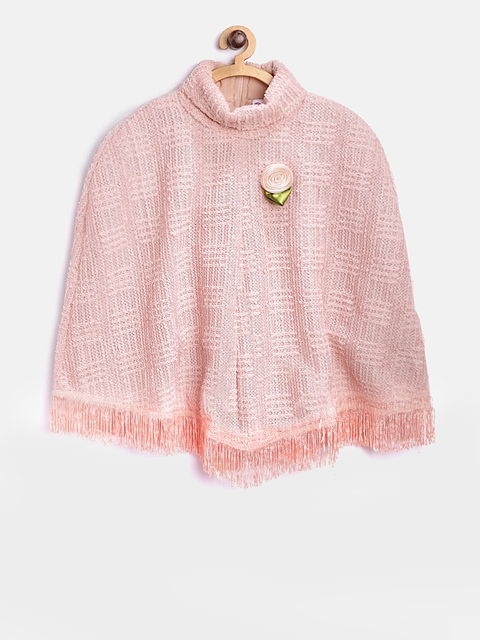 Peppermint Girls Peach-Coloured Shimmer Poncho Shrug