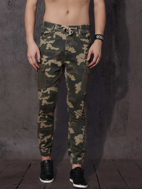 Roadster Men Olive Green Camouflage Printed Cargo Joggers