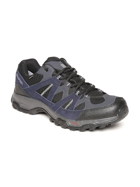 Salomon Men Navy & Black Tsingy Gtx Leather Walking Shoes