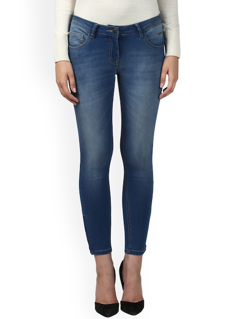 Park Avenue Women Blue Mid-Rise Clean Look Cropped Jeans