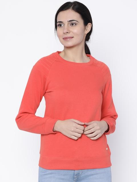 Madame Women Orange Solid Sweatshirt