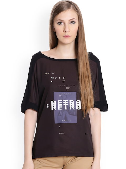 United Colors of Benetton Women Black Printed Top