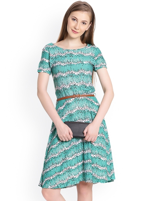 United Colors of Benetton Women Green Printed Fit and Flare Dress