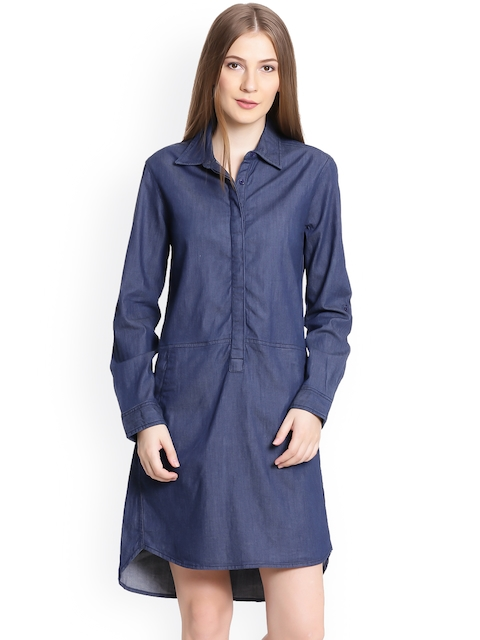 United Colors of Benetton Women Blue Solid Shirt Dress