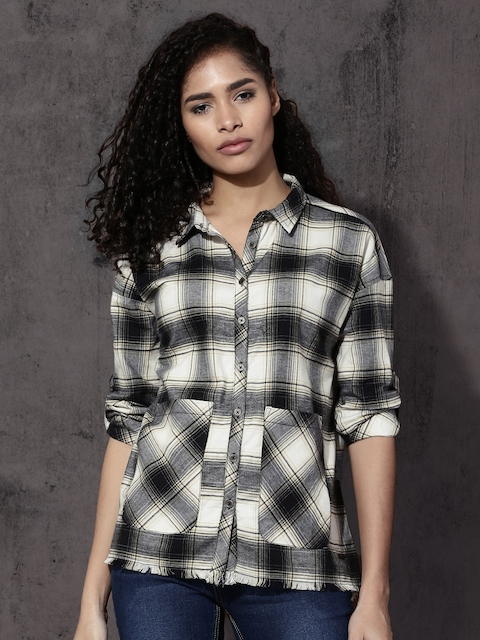 Roadster Women Black & Off-White Regular Fit Checked Casual Shirt