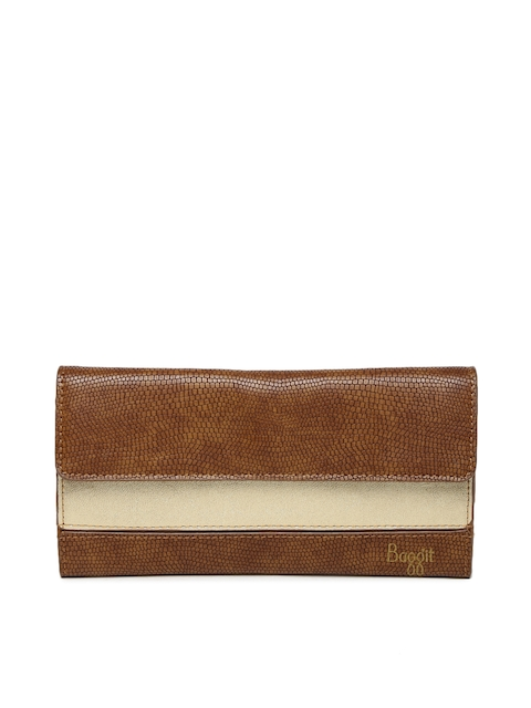 Baggit Women Brown & Gold-Toned Colourblocked Three Fold Wallet