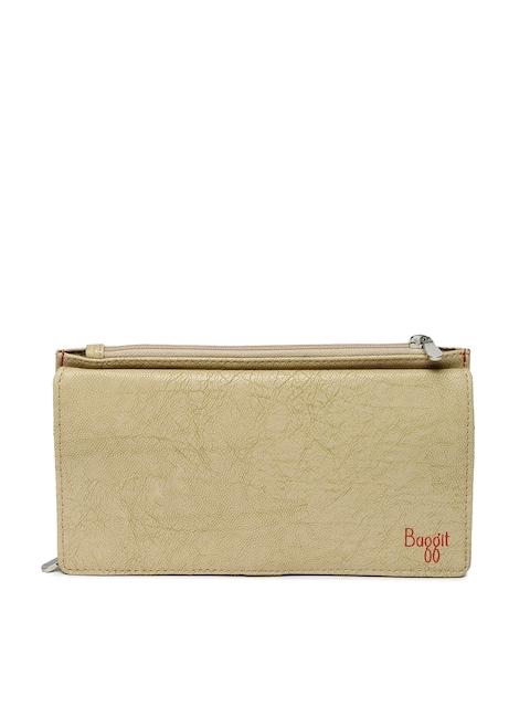 Baggit Women Beige Self Design Two Fold Wallet
