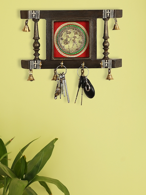 ExclusiveLane Brown & Red Dhokra & Warli Hand-Painted Key Holder