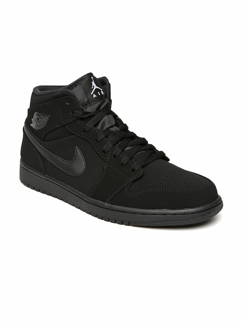 Nike Men Black Leather Mid-Top AIR JORDAN 1 Basketball Shoes