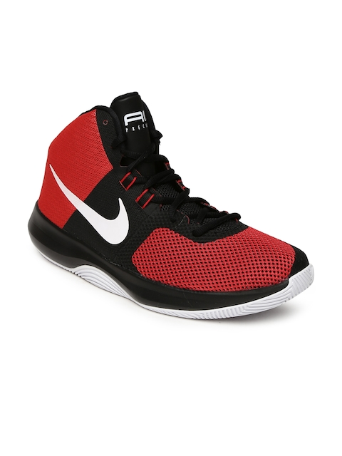 Nike Men Red Textile Mid-Top AIR PRECISION Basketball Shoes  available at myntra for Rs.3477