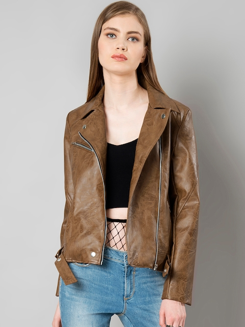FabAlley Women Brown Solid Leather Biker Jacket