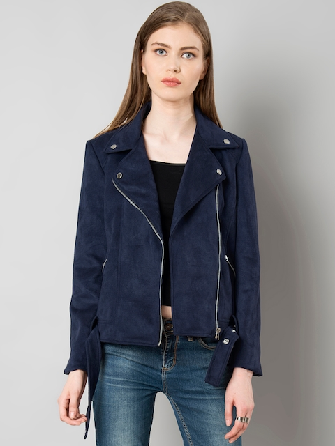 FabAlley Women Navy Blue Suede Solid Biker Jacket