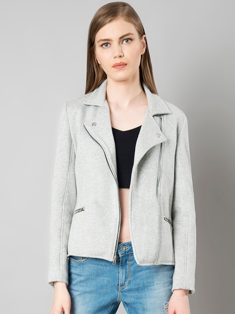 FabAlley Women Grey Solid Tailored Jacket