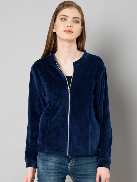 FabAlley Women Navy Blue Solid Bomber