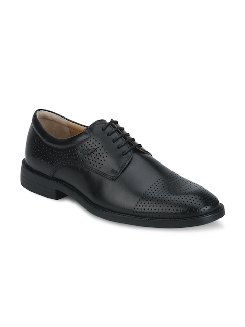 Park Avenue Men Black Leather Derbys with Perforations