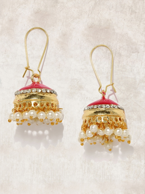 Anouk Gold-Toned & Pink Embellished Jhumkas  available at myntra for Rs.479