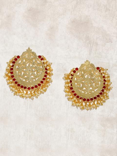 Anouk Gold-Toned & Maroon Circular Drop Earrings