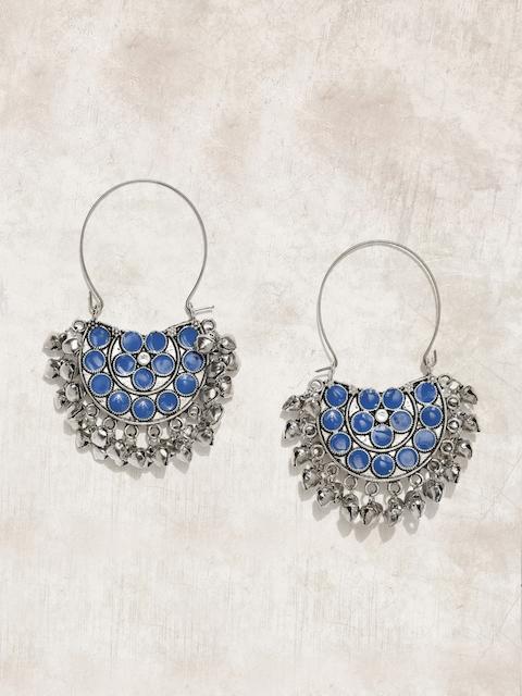 Anouk Silver-Toned & Blue Crescent Shaped Chandbalis