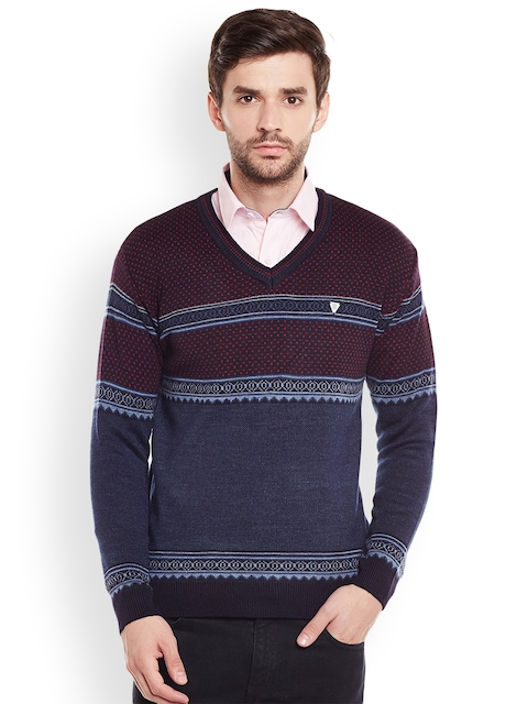 Duke Men Blue & Maroon Sweater