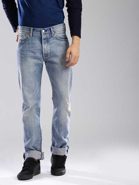 Levis Men Blue 501 Regular Fit Mid-Rise Mildly Distressed Jeans