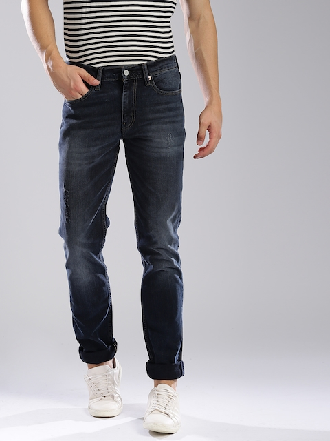 Levis Men Blue Mid-Rise Low Distress Stretchable Jeans