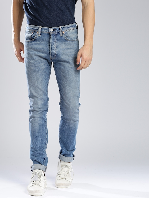 Levis Men Blue 501S Skinny Fit Mid-Rise Clean Look Stretchable Jeans