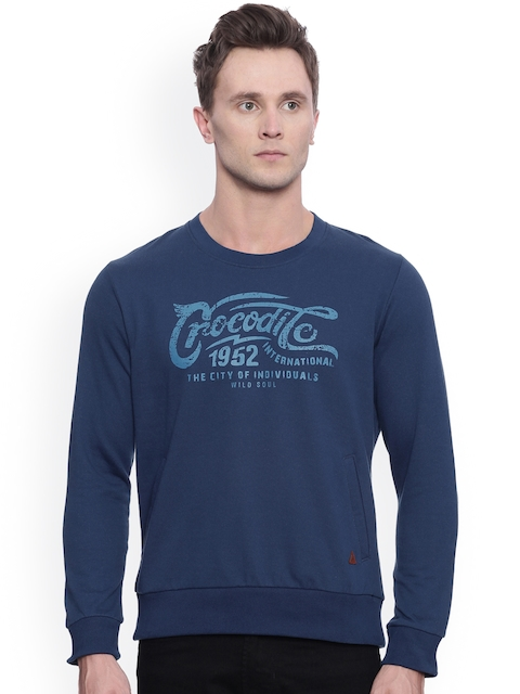 Crocodile Men Blue Printed Sweatshirt