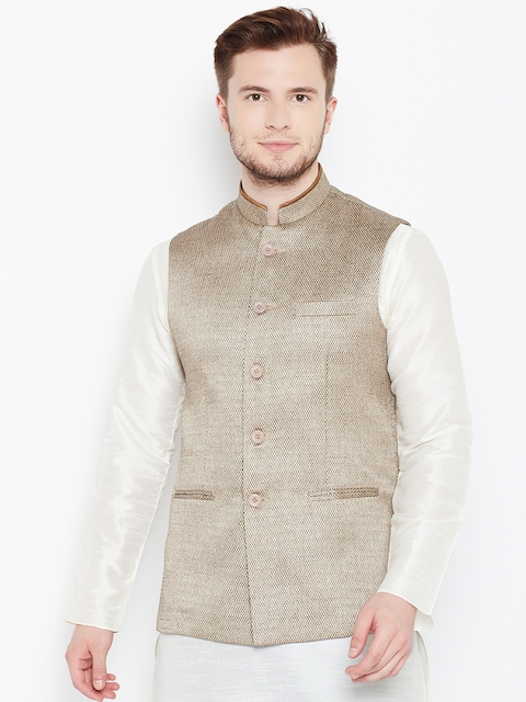 Manyavar Beige Patterned Nehru Jacket