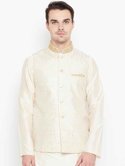 Manyavar Off-White Patterned Nehru Jacket