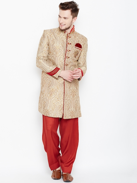 Manyavar Cream-Coloured & Red Patterned Sherwani  available at myntra for Rs.16999
