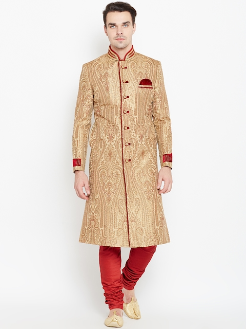 Manyavar Beige & Red Patterned Sherwani