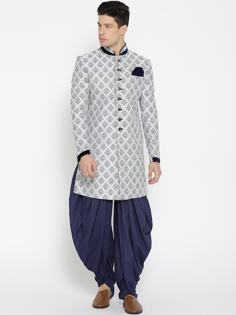 Manyavar Grey & Navy Patterned Sherwani  available at myntra for Rs.11999