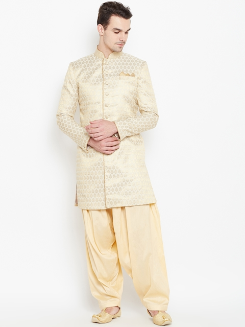 Manyavar Beige Patterned Sherwani  available at myntra for Rs.10999