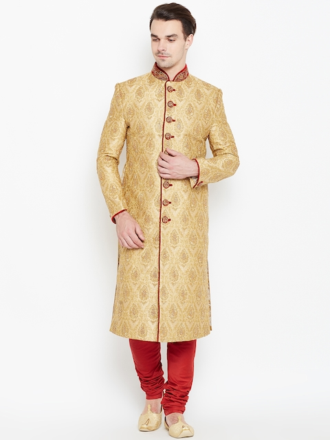 Manyavar Beige & Red Embellished Sherwani