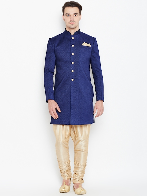 Manyavar Blue & Beige Woven Design Sherwani  available at myntra for Rs.16999