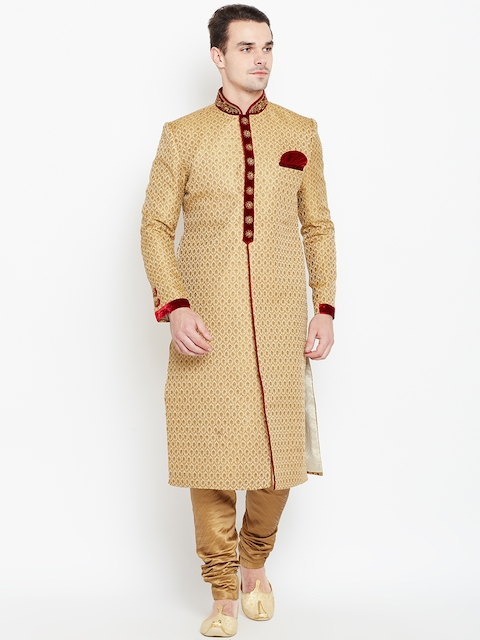 Manyavar Beige & Golden Patterned Sherwani