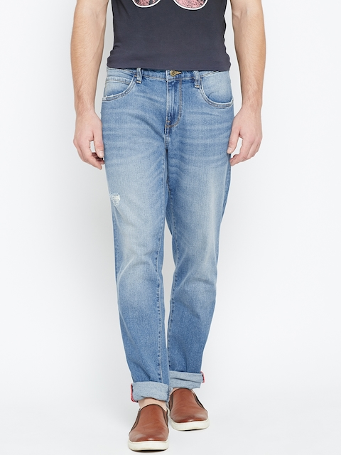 Arrow Blue Jean Co. Men Blue Relaxed Mid-Rise Low Distress Stretchable Jeans