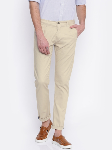 Arrow Sport Men Beige Chrysler Tapered Fit Self Design Chinos