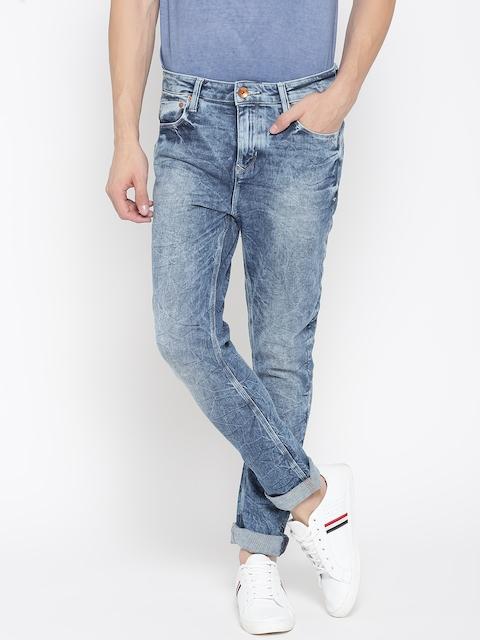Arrow Sport Men Blue Carrot Fit Mid-Rise Clean Look Stretchable Jeans
