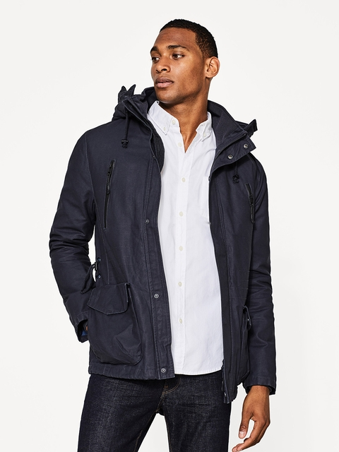 ESPRIT Men Navy Solid Hooded Padded Jacket