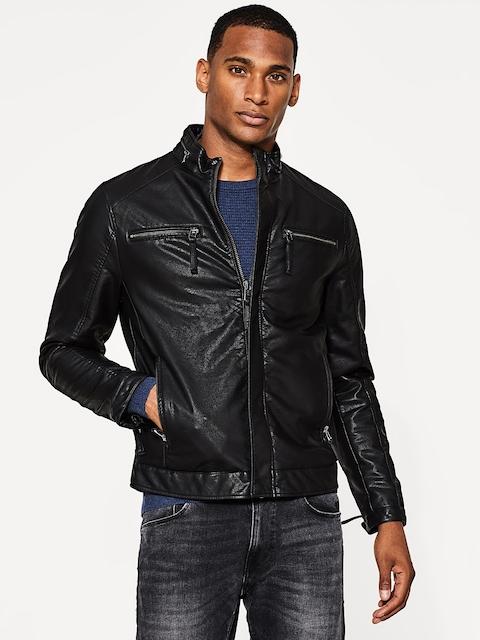 ESPRIT Men Black Solid Biker Jacket