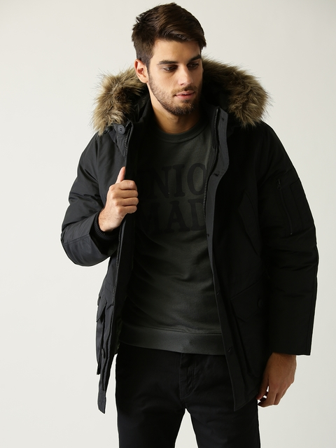 ESPRIT Men Black Solid Parka Jacket