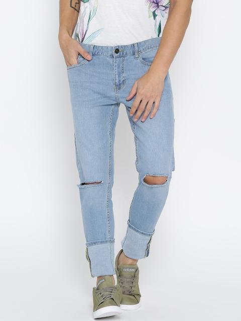 FOREVER 21 Men Blue Slim Fit Mid-Rise Slash Knee Stretchable Jeans
