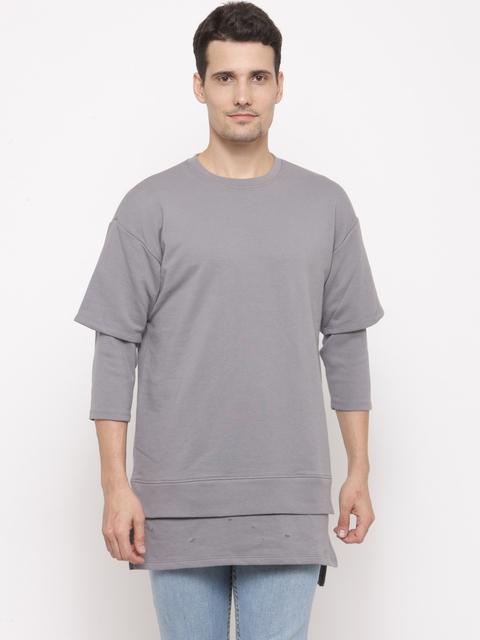 FOREVER 21 Men Grey Solid Panelled Longline Sweatshirt
