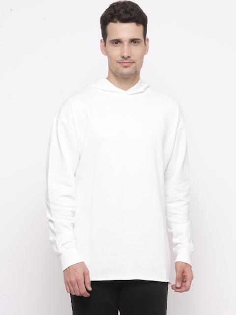 FOREVER 21 Men White Solid Hooded Sweatshirt