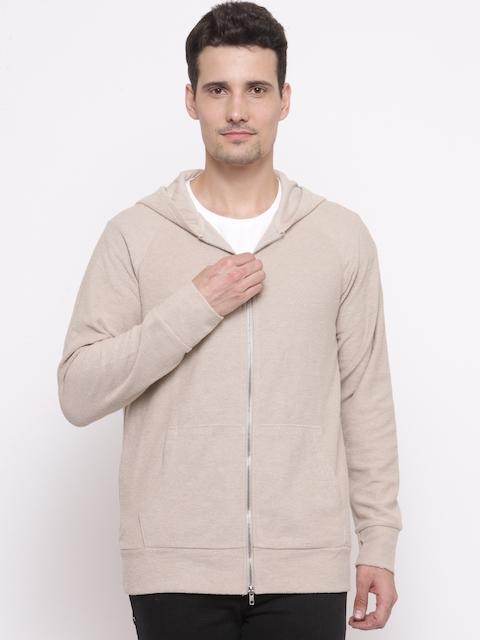 FOREVER 21 Men Beige Solid Hooded Sweatshirt