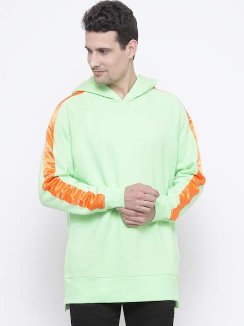 FOREVER 21 Men Lime Green Solid Hooded Sweatshirt